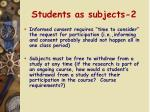 students as subjects 2