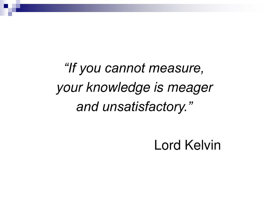 """If you cannot measure,"