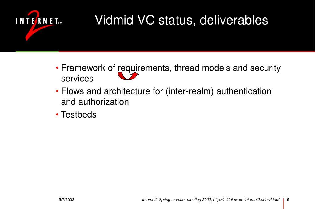 Vidmid VC status, deliverables