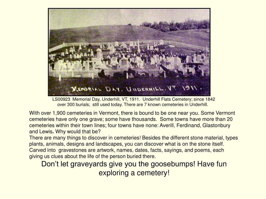 LS00923  Memorial Day, Underhill, VT, 1911.  Underhill Flats Cemetery; since 1842