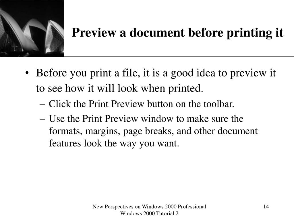 Preview a document before printing it