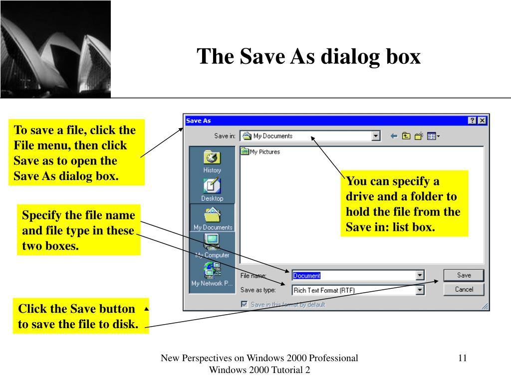 The Save As dialog box