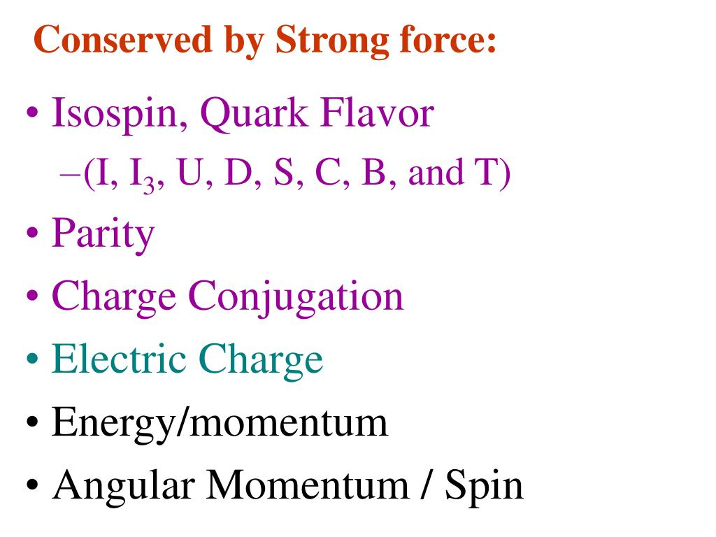 Conserved by Strong force:
