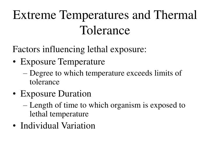 Extreme temperatures and thermal tolerance2