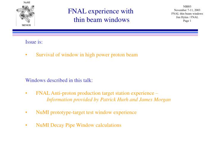 Fnal experience with thin beam windows