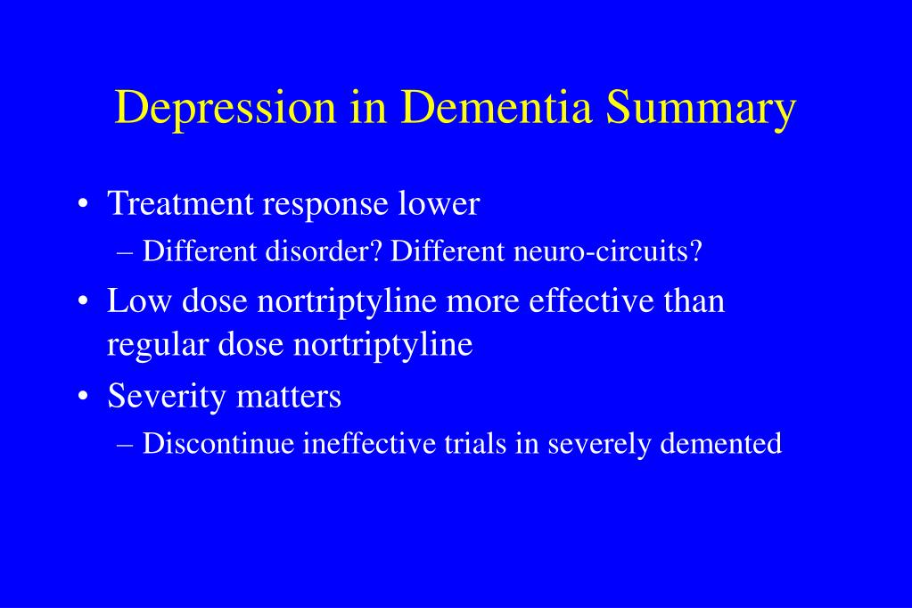 Depression in Dementia Summary