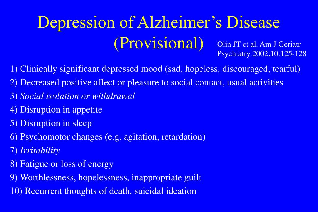 Depression of Alzheimer's Disease (Provisional)