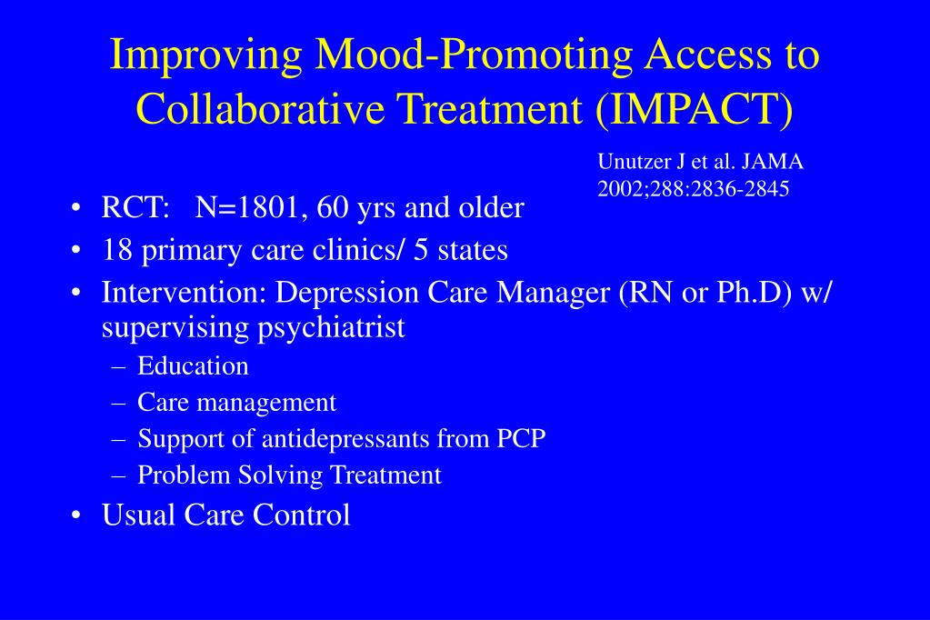 Improving Mood-Promoting Access to Collaborative Treatment (IMPACT)