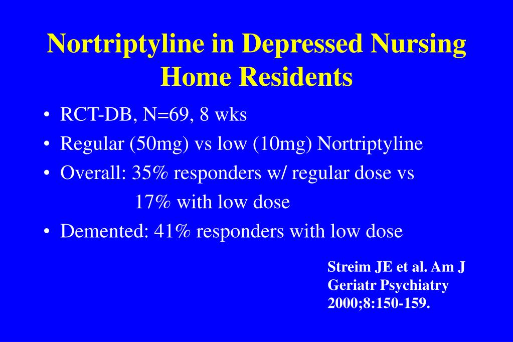 Nortriptyline in Depressed Nursing Home Residents