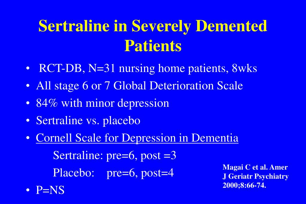 Sertraline in Severely Demented Patients