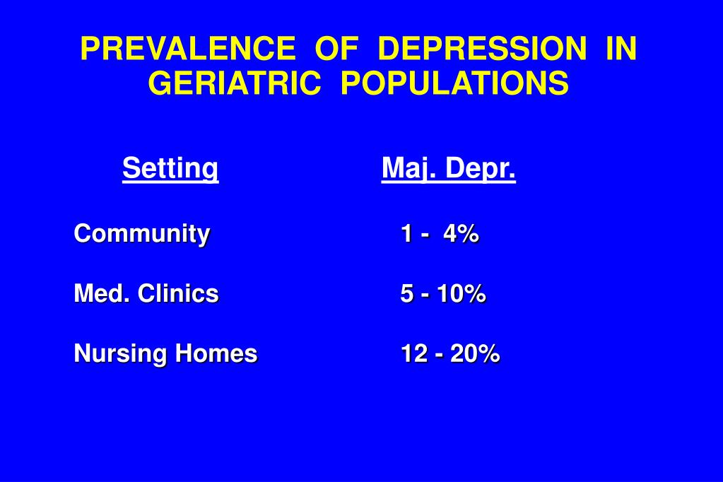 PREVALENCE  OF  DEPRESSION  IN GERIATRIC  POPULATIONS