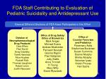 fda staff contributing to evaluation of pediatric suicidality and antidepressant use