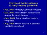 overview of events leading up to today s meeting continued