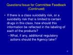 questions issue for committee feedback continued20
