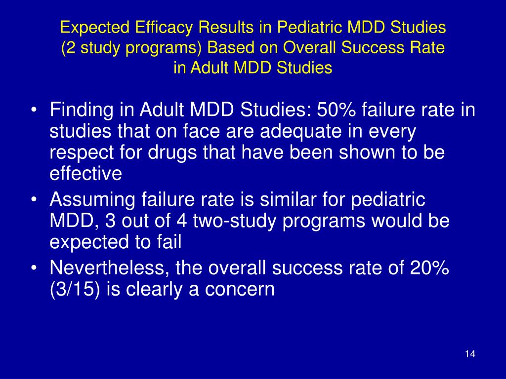 Expected Efficacy Results in Pediatric MDD Studies