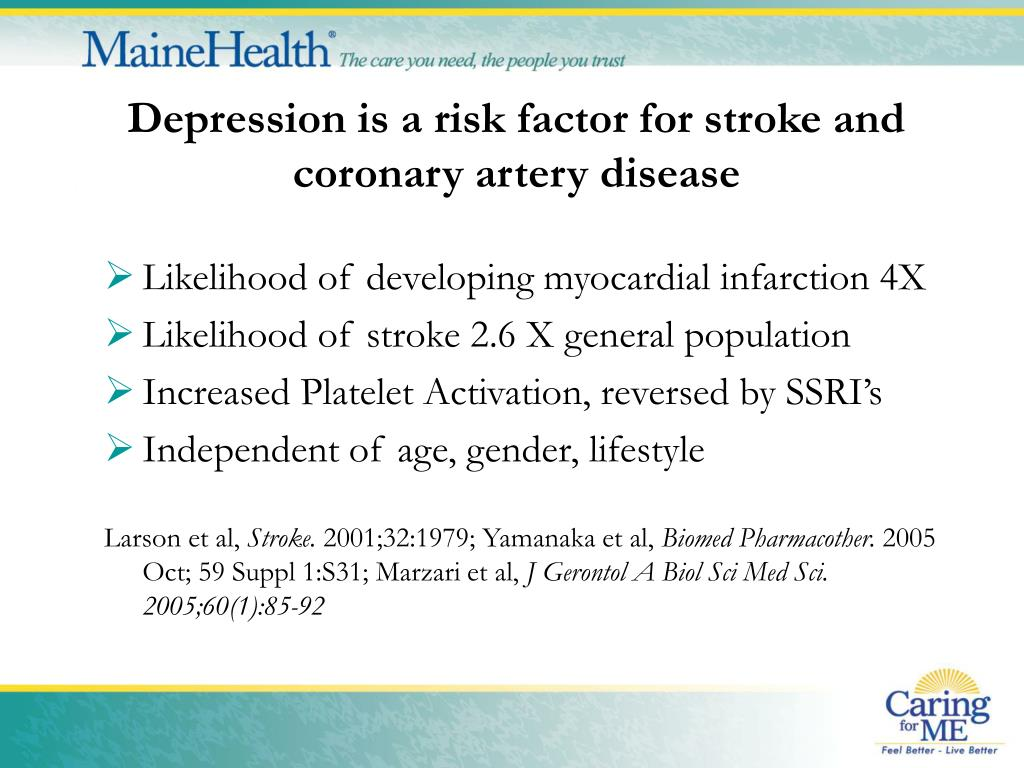 Depression is a risk factor for stroke and coronary artery disease