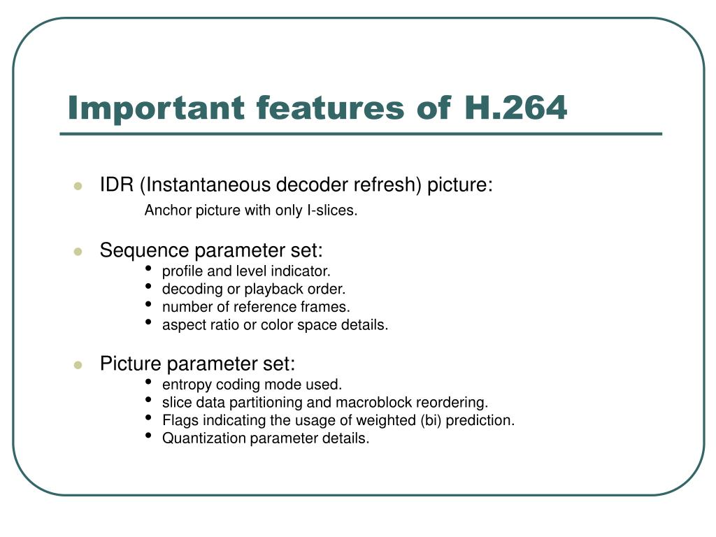Important features of H.264