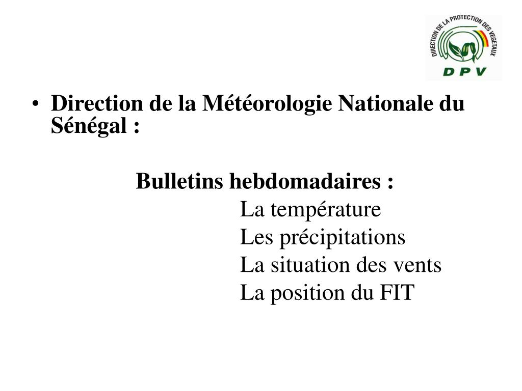 Direction de la Météorologie Nationale du Sénégal :