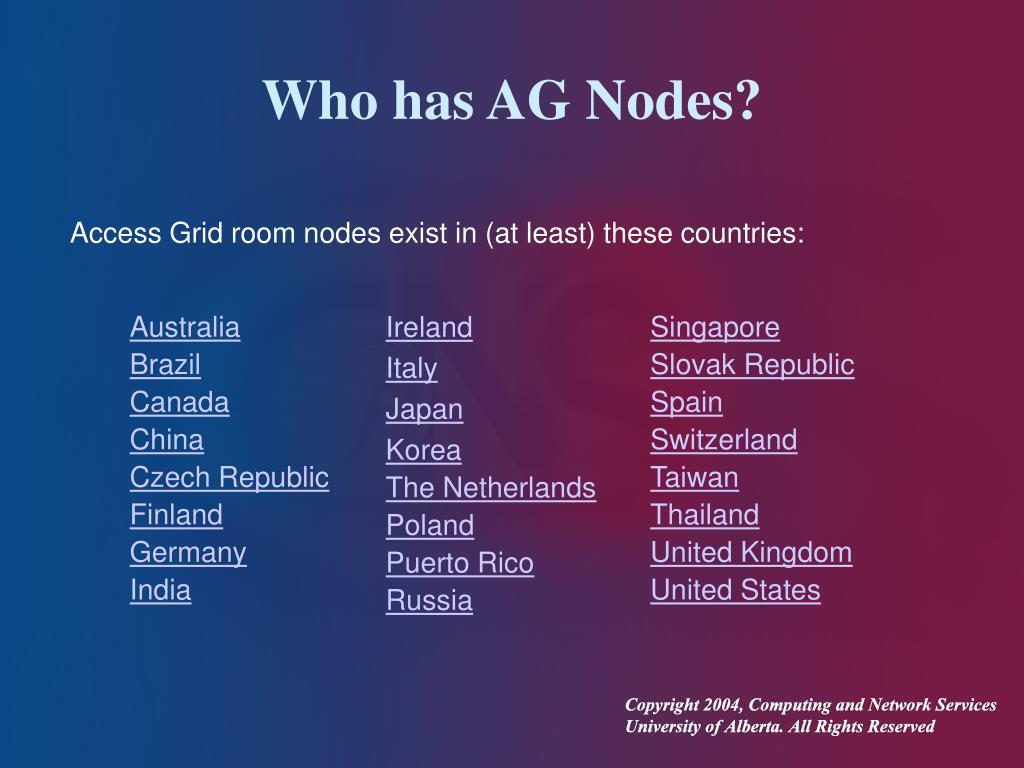 Who has AG Nodes?