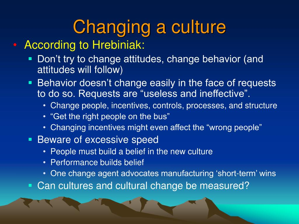 Changing a culture