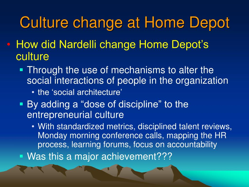 Culture change at Home Depot