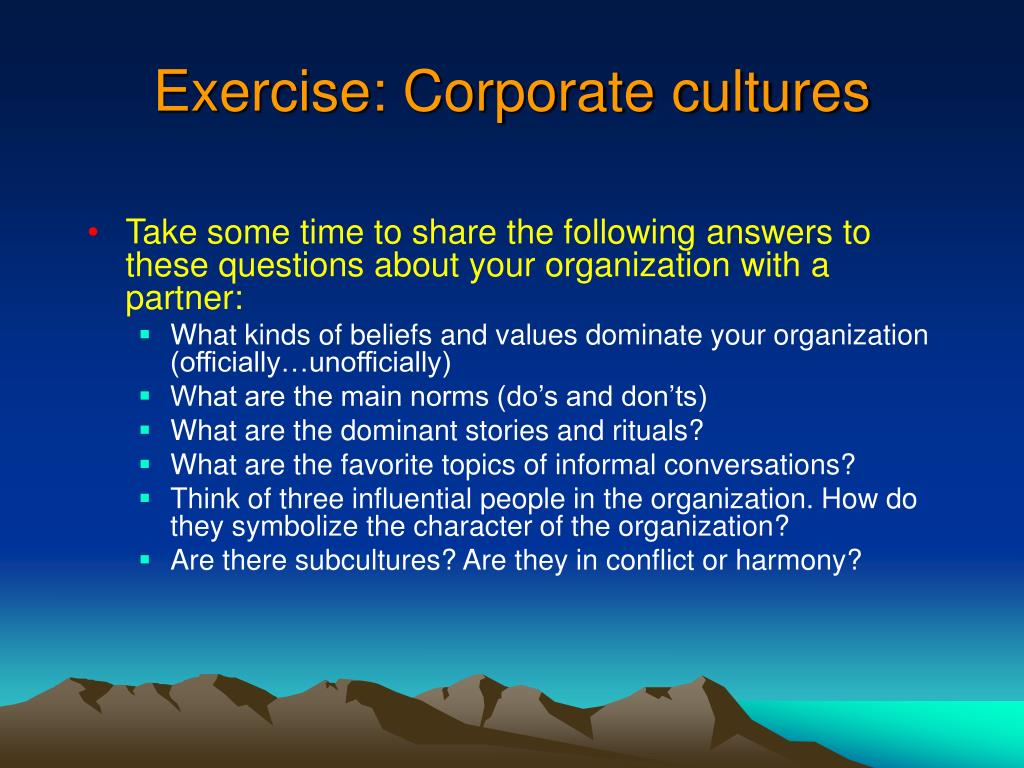 Exercise: Corporate cultures