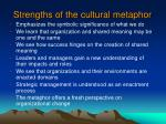 strengths of the cultural metaphor