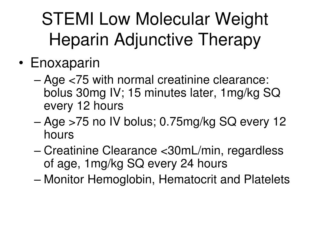 STEMI Low Molecular Weight Heparin Adjunctive Therapy
