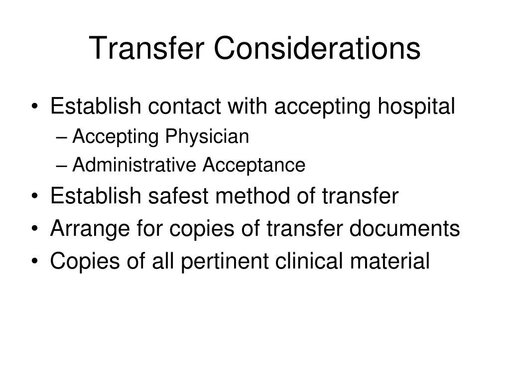 Transfer Considerations