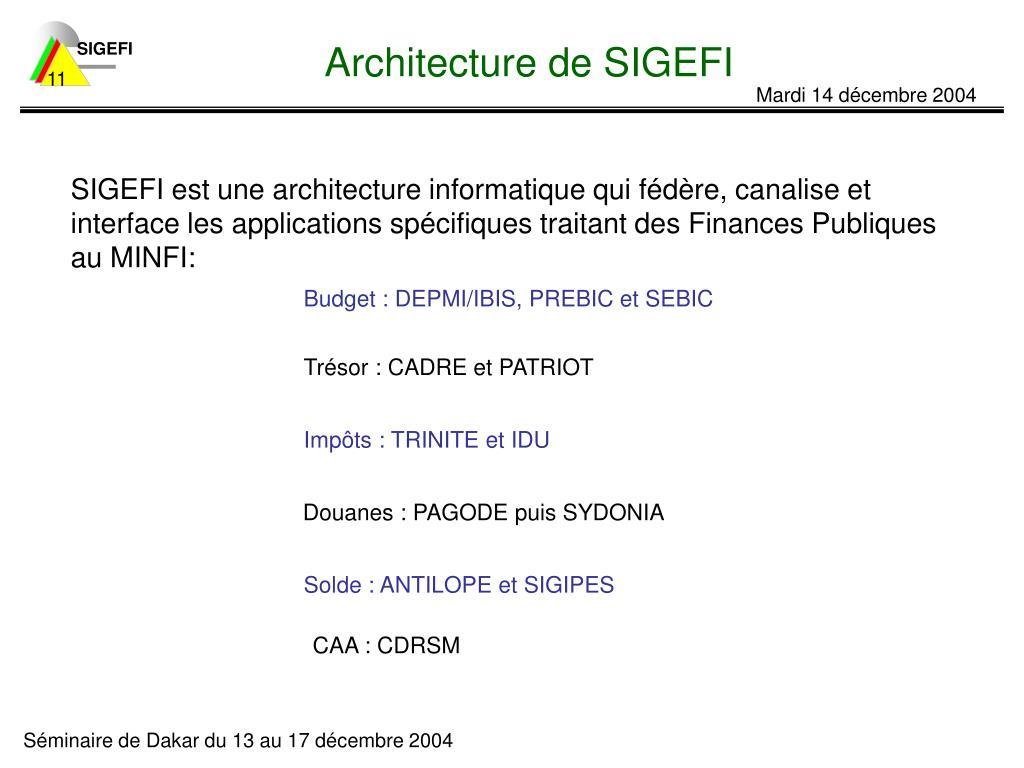 Architecture de SIGEFI