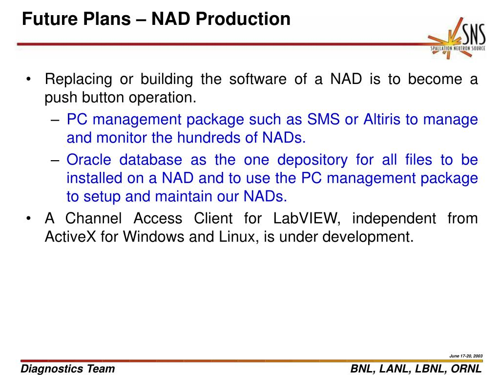 Future Plans – NAD Production