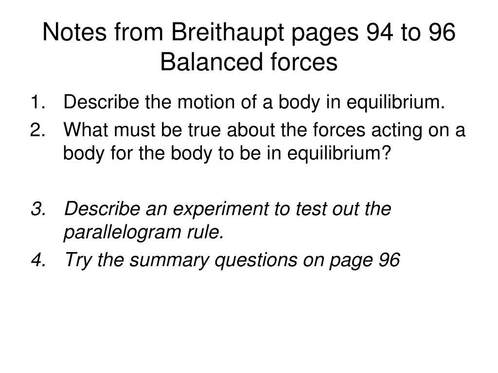 Notes from Breithaupt pages 94 to 96