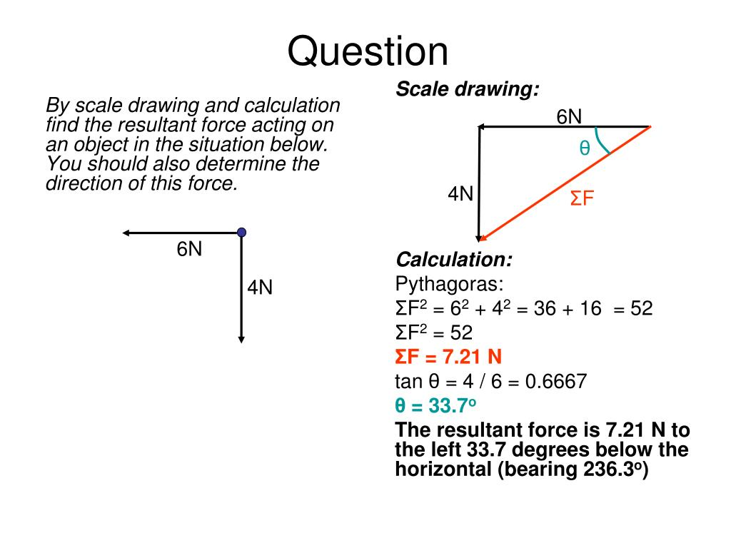 By scale drawing and calculation find the resultant force acting on an object in the situation below. You should also determine the direction of this force.