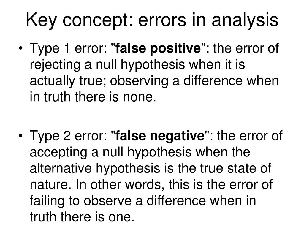 Key concept: errors in analysis