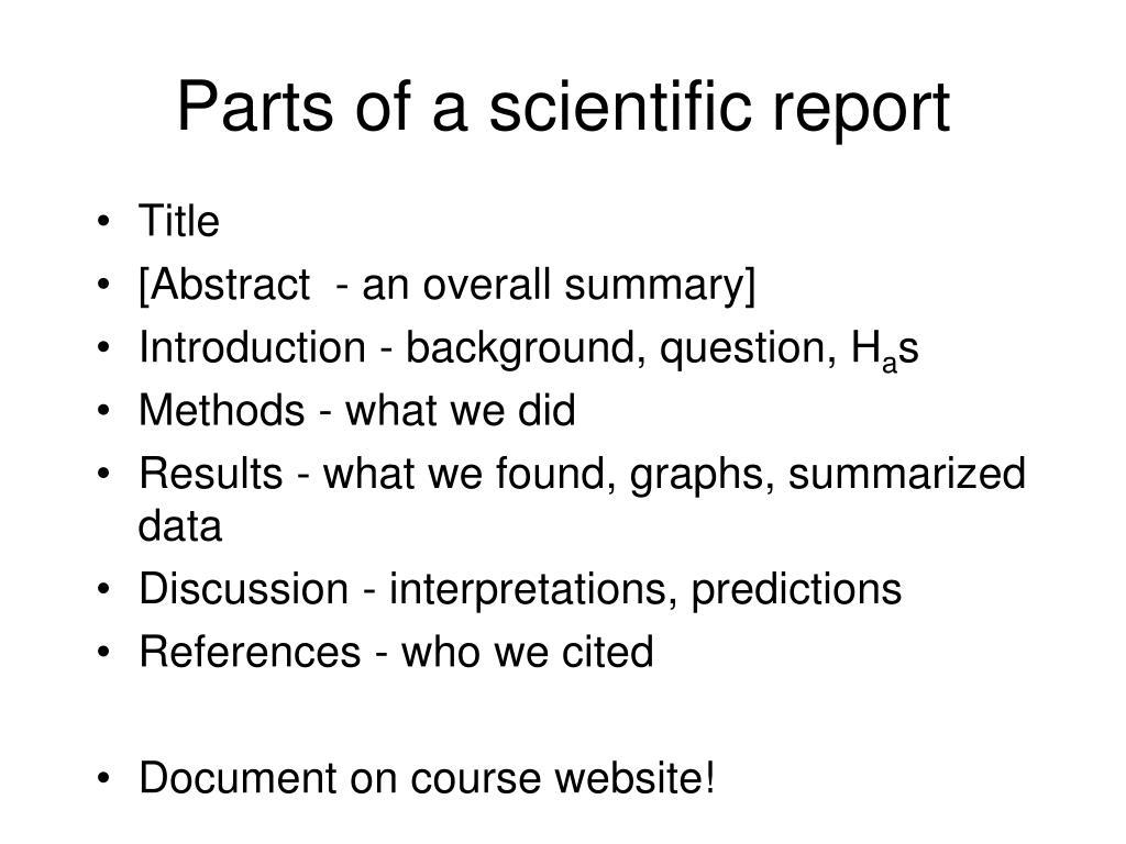 Parts of a scientific report