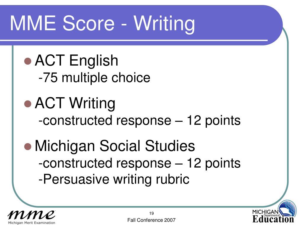 MME Score - Writing