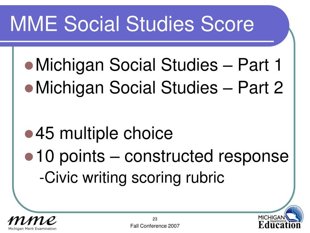MME Social Studies Score