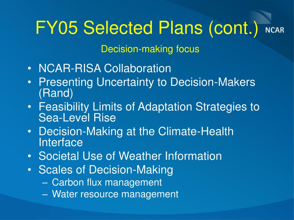 FY05 Selected Plans (cont.)
