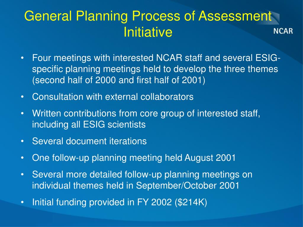General Planning Process of Assessment Initiative