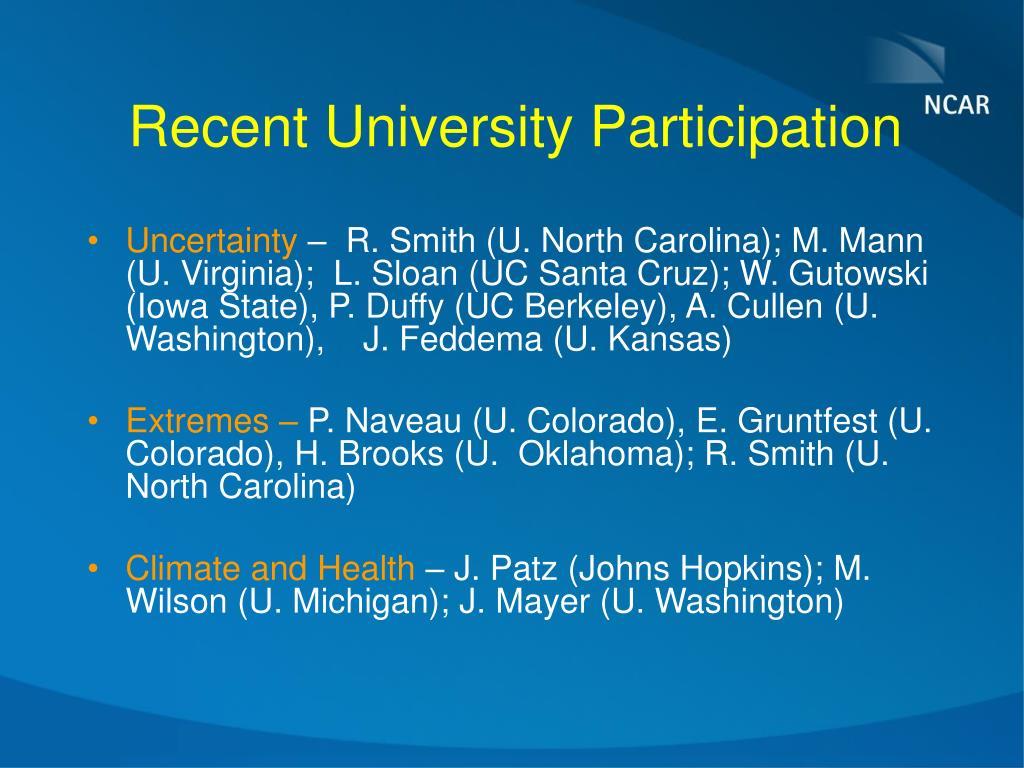 Recent University Participation