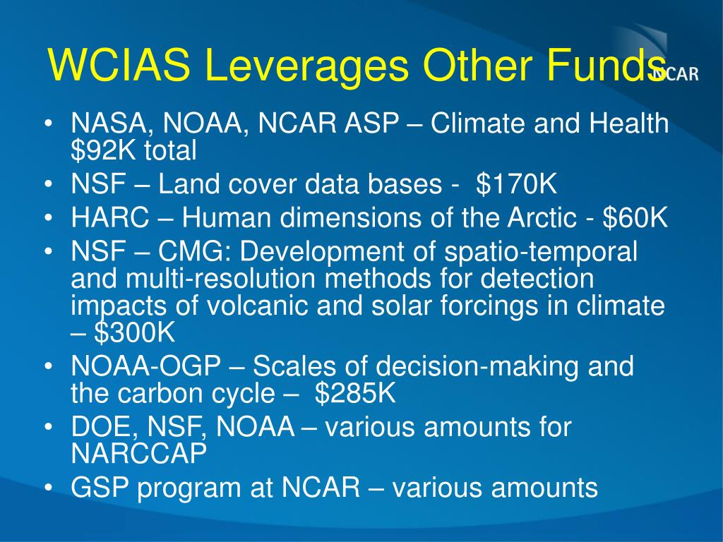 WCIAS Leverages Other Funds