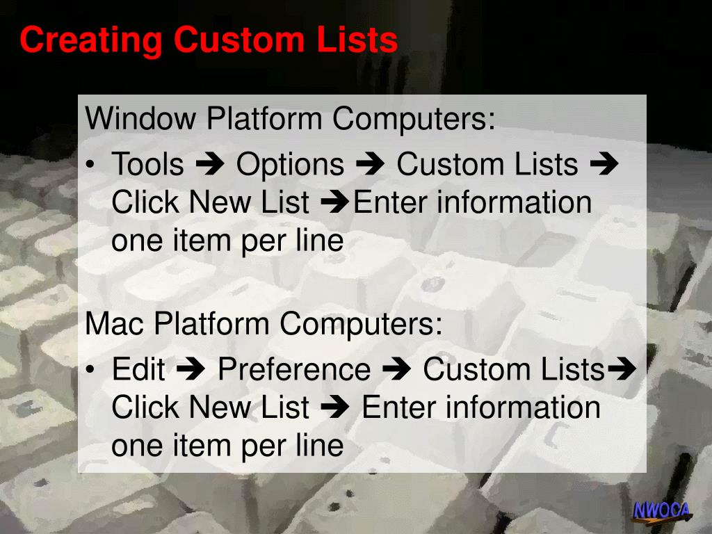 Creating Custom Lists