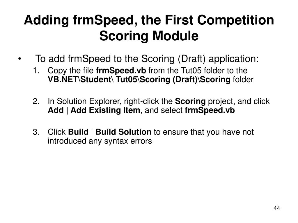 Adding frmSpeed, the First Competition Scoring Module