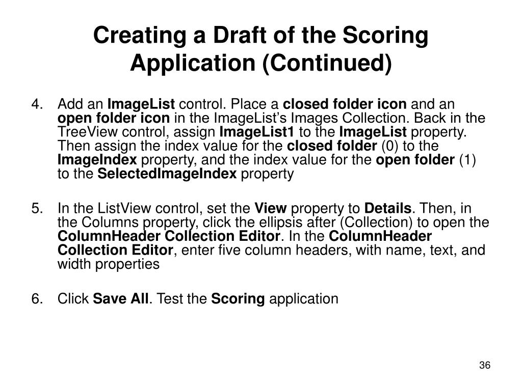 Creating a Draft of the Scoring Application (Continued)