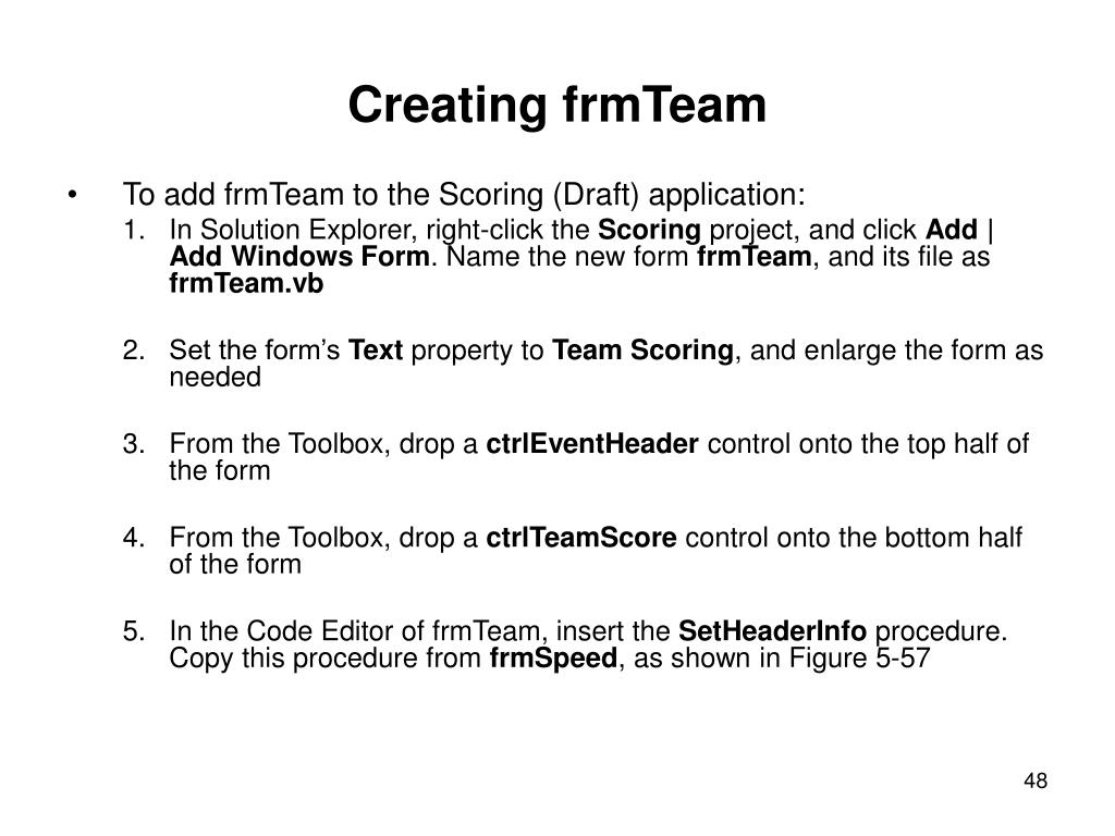 Creating frmTeam