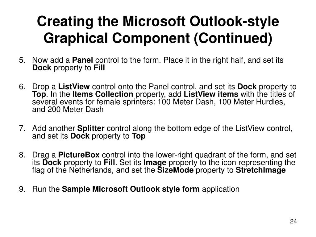 Creating the Microsoft Outlook-style Graphical Component (Continued)