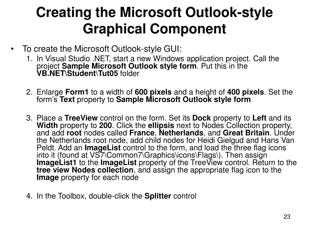 Creating the Microsoft Outlook-style Graphical Component