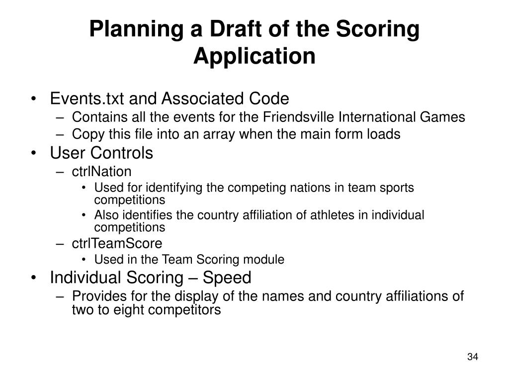 Planning a Draft of the Scoring Application