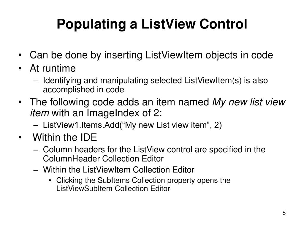 Populating a ListView Control