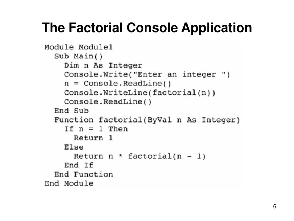 The Factorial Console Application